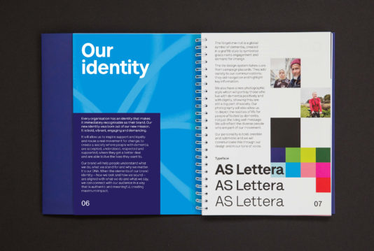 Brand guidelines and brand book for Alzheimer's Society